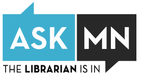 Blue and black logo of the ASK MN librarian chat button